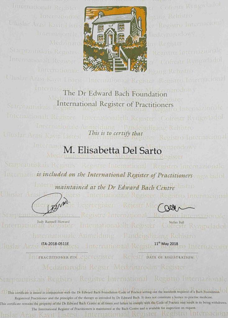 Attestato professionale consulente floriterapeuta metodo originale DR. Edward Bach Elisabetta Del Sarto